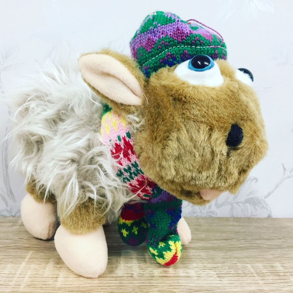 Cute Shaggy Sheep In Hat & Scarf Soft Toy